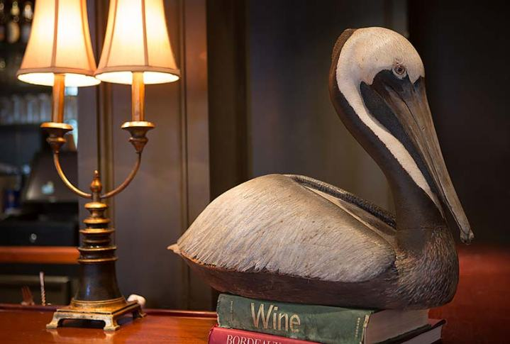 pelican wood sculpture